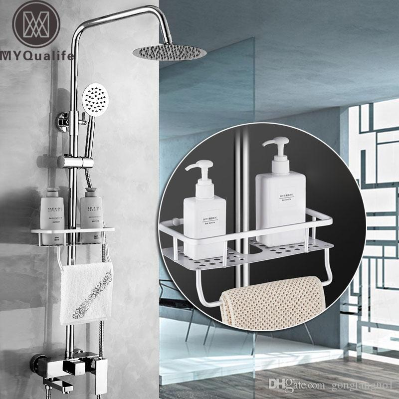 "Bathroom Shower Set with Basket Shelf Wall Mounted 8"" Rainfall Chrome Bath Shower Mixer Faucet Rotate Spout Commodity Shelf"