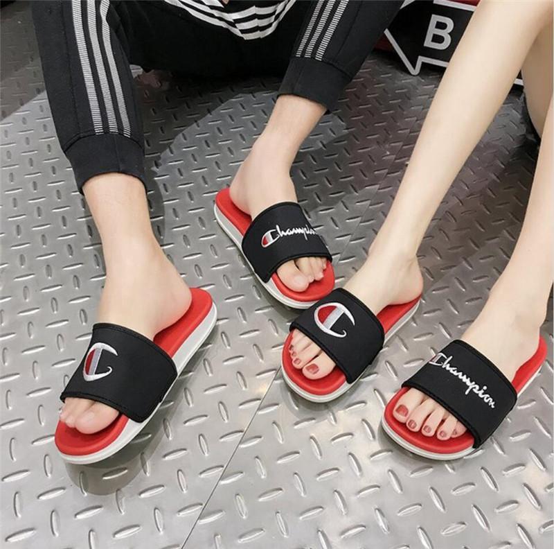 Unisex Champion Embroidery Letters Sandals Summer Luxury Designer Women Men  Slippers Brand Mules Slip On Flip Flops Flat Sandal Shoes A52901