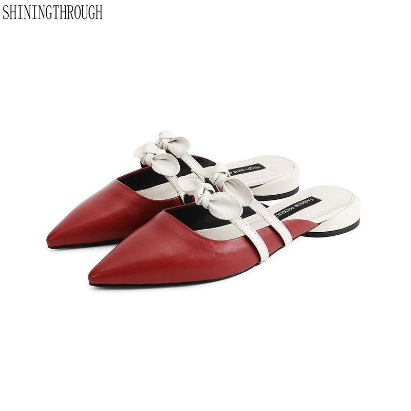 sale retailer 6a3e1 475ad Pantofole da bambina a tacco basso Calzoncini da donna Calzature a punta  Scarpe da donna Scarpe da donna in vera pelle