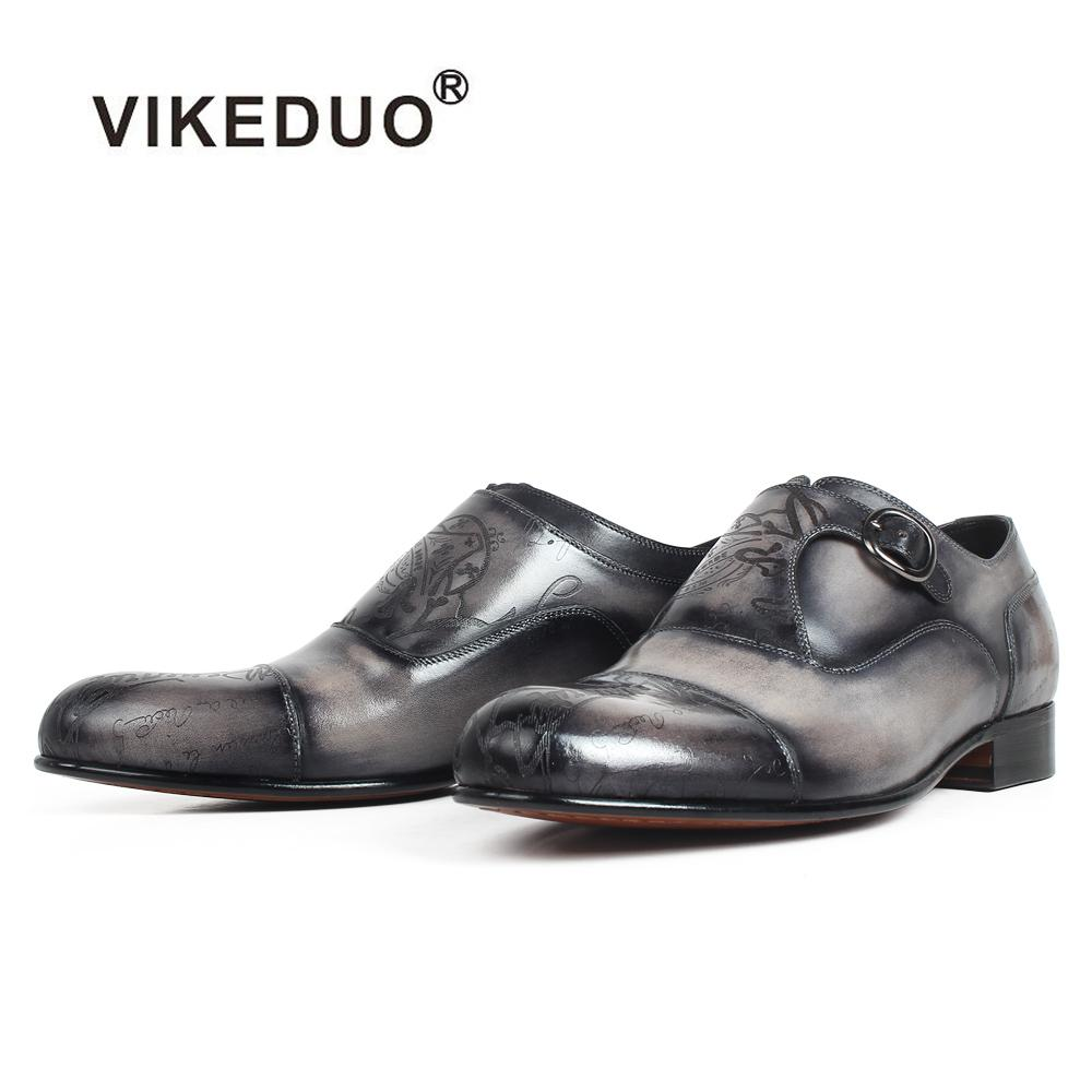 c843969d VIKEDUO Italy Style Handmade Genuine Leather Men Gray Monk Strap Formal  Shoes Office Business Wedding Dress Patina Laser Shoes Mens Trainers  Walking Shoes ...