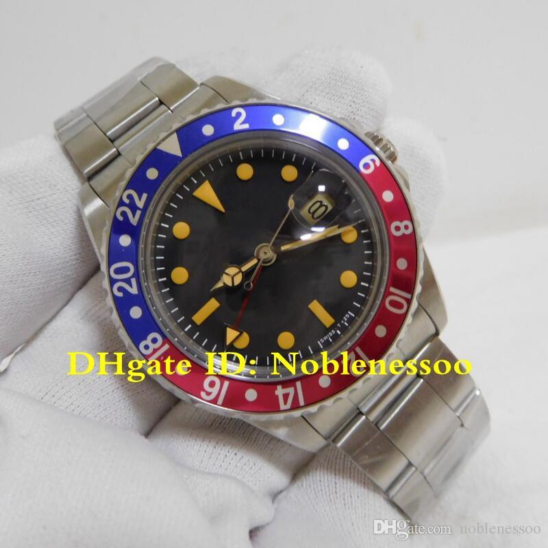 3 Color Men Vintage Watch 1977 GMT-Master Pepsi Blue Red Matte Mark 2 Black  1675 Date Steel Watch 2813 Automatic Men's Watches