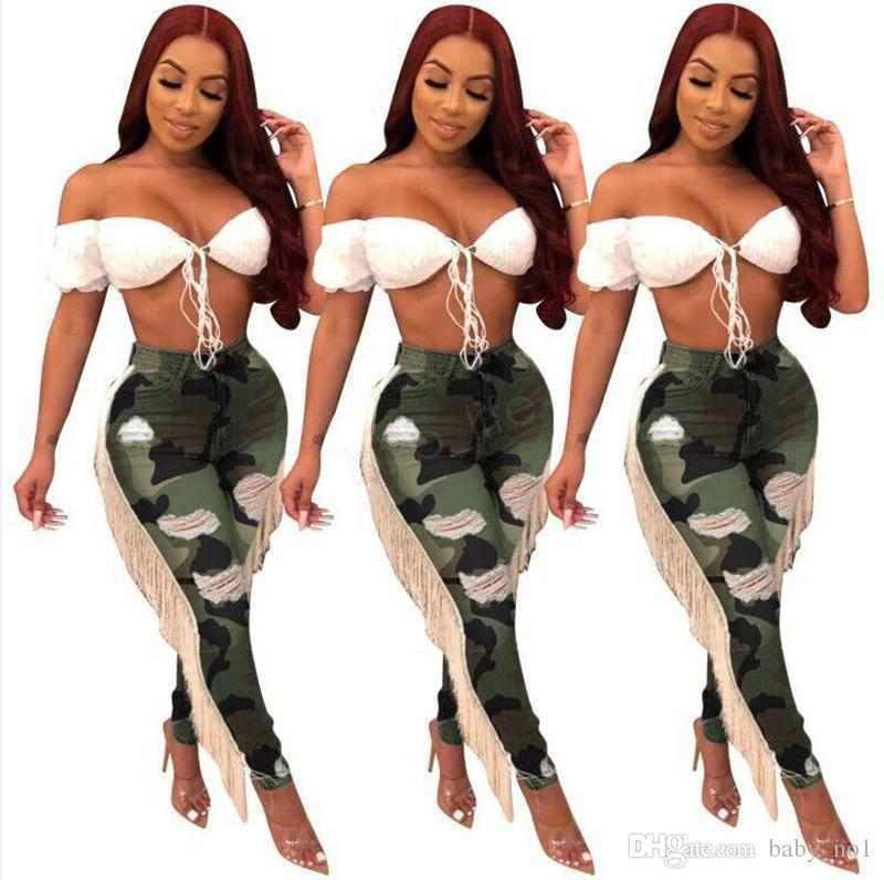 Women Ripped Hole tassels Jeans camouflage Bodycon high waist summer Autumn Pant Slim Skinny Stretch Denim Trousers Pants Bottoms A-LJA3033