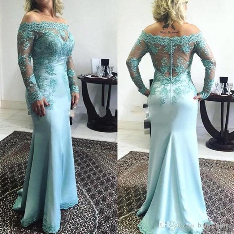 Modest Ocean Blue Mother of Bride Groom Dresses Vintage Long Sleeve Appliques Off Shoulder With Button Covered Back Evening Gowns BC1930