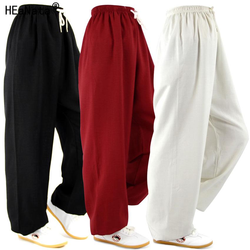 ce09892f03ff Acquista Pantaloni Harem In Lino Di Cotone Classico Abbigliamento Yoga Tai  Chi Square Pantaloni Da Yoga Da Danza Kung Fu Pantaloni Da Corsa Sia Uomo  Che ...