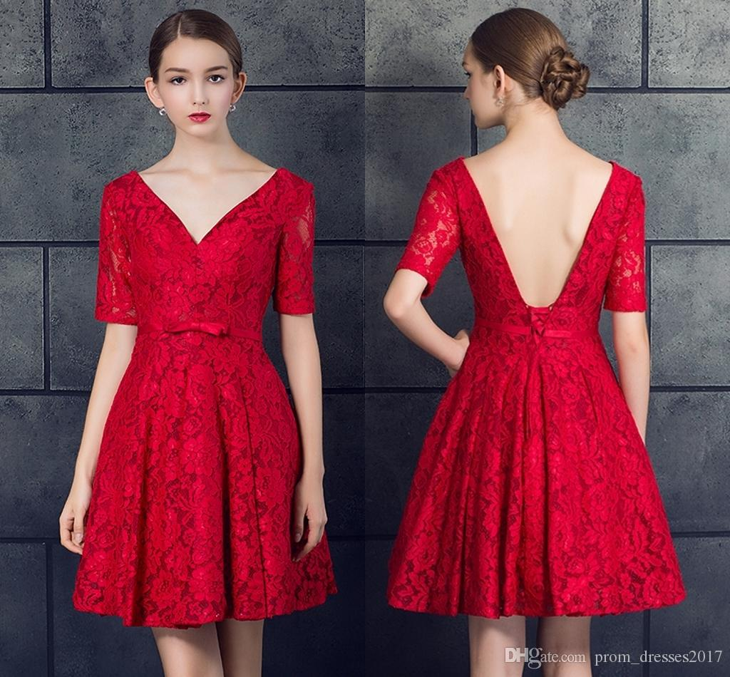New Red Lace Deep V-Neck Formal Evening Dresses 2019 Short Fashion Halter Strap Small Dresses Prom Party Dresses