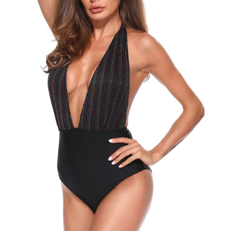 f3a4f4e2b09 2019 Womens Sexy One Piece Bikini Plunging Deep V Neck Monokini Halter Tie  Glitter Rainbow Vertical Stripes Printed Swimsuit High Wai From Xx2015, ...