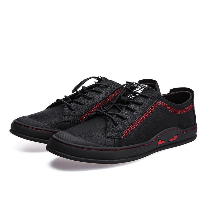 82575af4b1 2019 New Men's Leather Casual Shoes Classic Fashion Male Lace Up Flats  Black Men Krasovki Breathable Tenis Masculino Plus Size