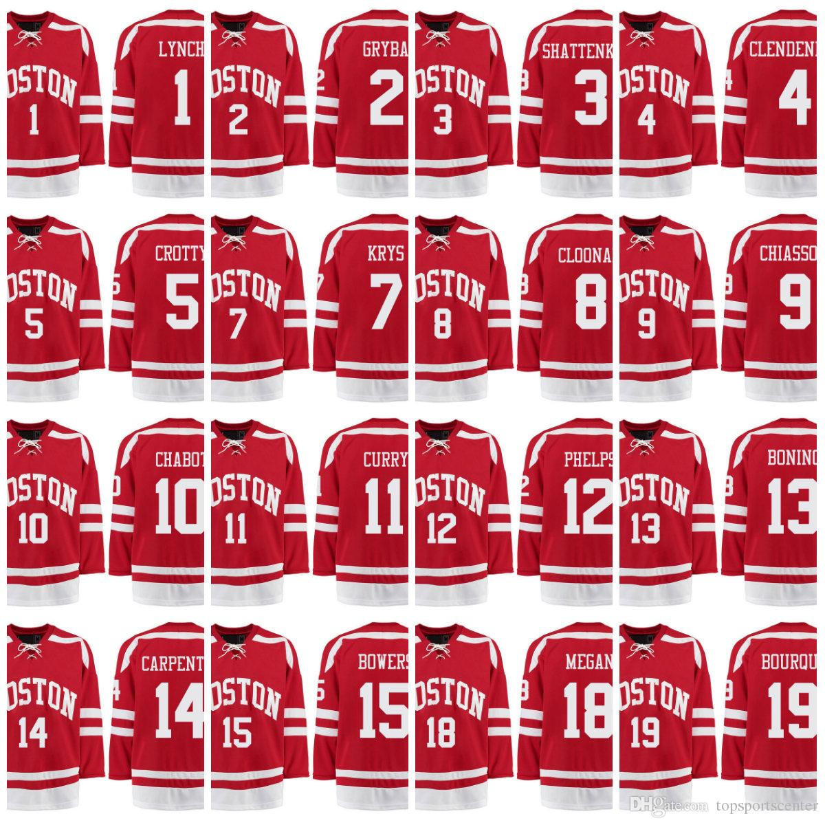 wholesale dealer 92ab5 64fc8 Men's hockey College Wears Boston University Terriers BU Customized any  name any number Red Stitched Hockey Jerseys
