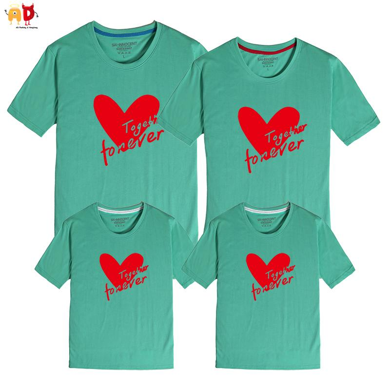 2aa88b4d Good Quality Family Matching T Shirt Summer Heart Pattern Mother And Daughter  Dad And Son Clothes Cotton Clothing Together Forever Father And Daughter ...
