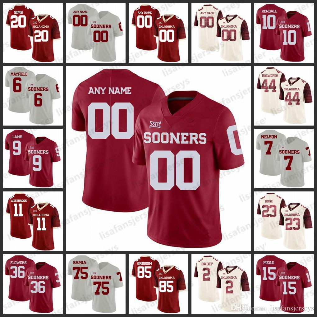 39757b604 2019 Custom Oklahoma Sooners Jerseys 1 Kyler Murray 6 Baker Mayfield 14 Sam  Bradford 28 Adrian Peterson College Football NCAA Jersey From  Lisafansjerseys