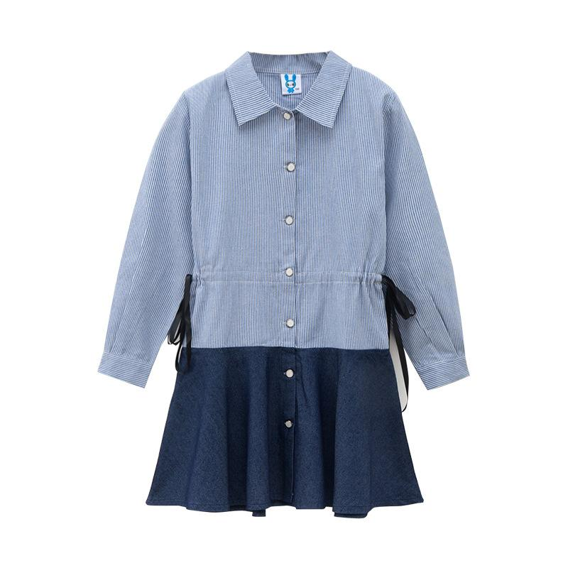 a22caeb9bc13e girls striped dress summer casual cotton solid blue kids girl dresses bow  turn-down collar girl full dresses 8 10 12 14 16 years