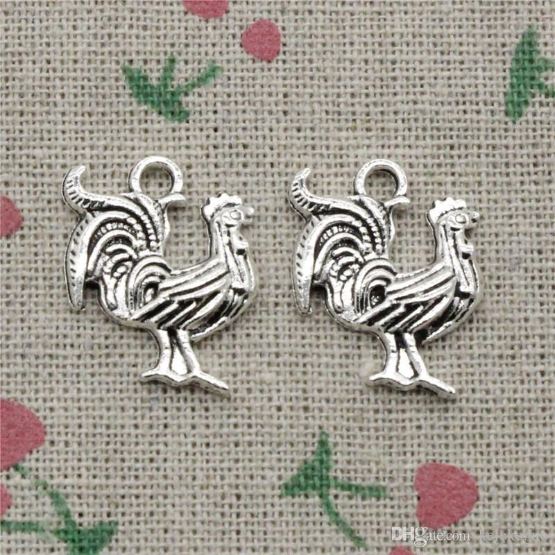 61pcs Charms cock rooster 22*18mm Tibetan Silver Vintage Pendants For Jewelry Making DIY Bracelet Necklace