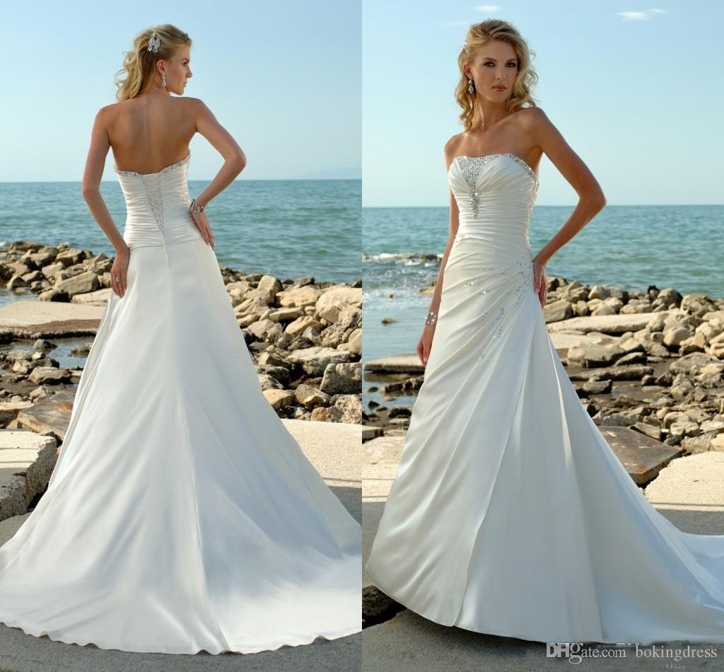 Discount 2019 White Ivory Satin Wedding Dresses A Line
