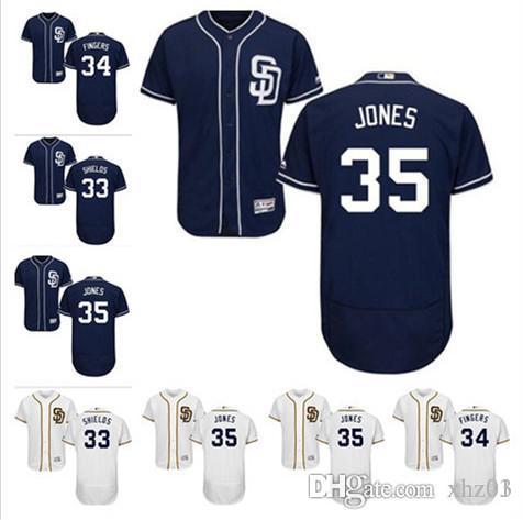 wholesale dealer 600e8 07302 custom Men s Women s Youth Majestic SD Padres Jersey 33 James Shields 34  Rollie Fingers 35 Randy Jones Baseball Jerseys