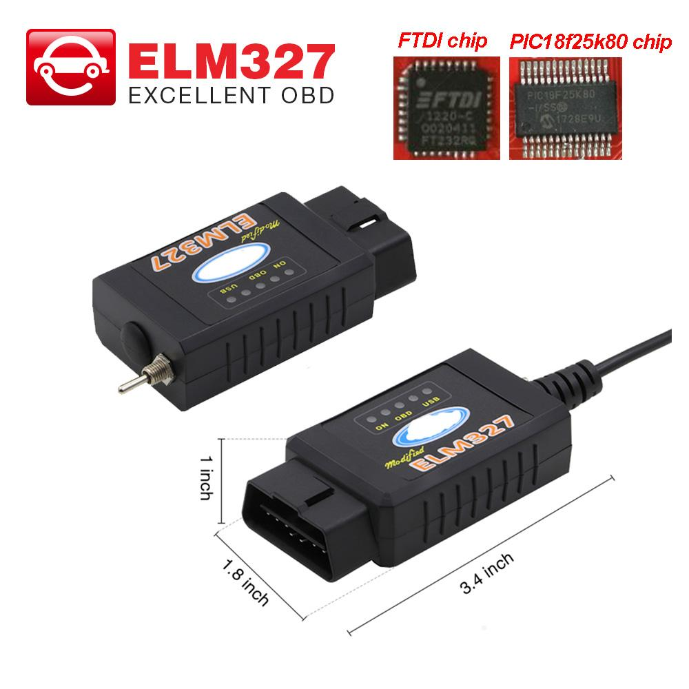 ELM327 USB Bluetooth FTDI chip with switch ELM 327 for ford HS CAN and MS  CAN car OBD2 diagnostic tool 5pcs/lot