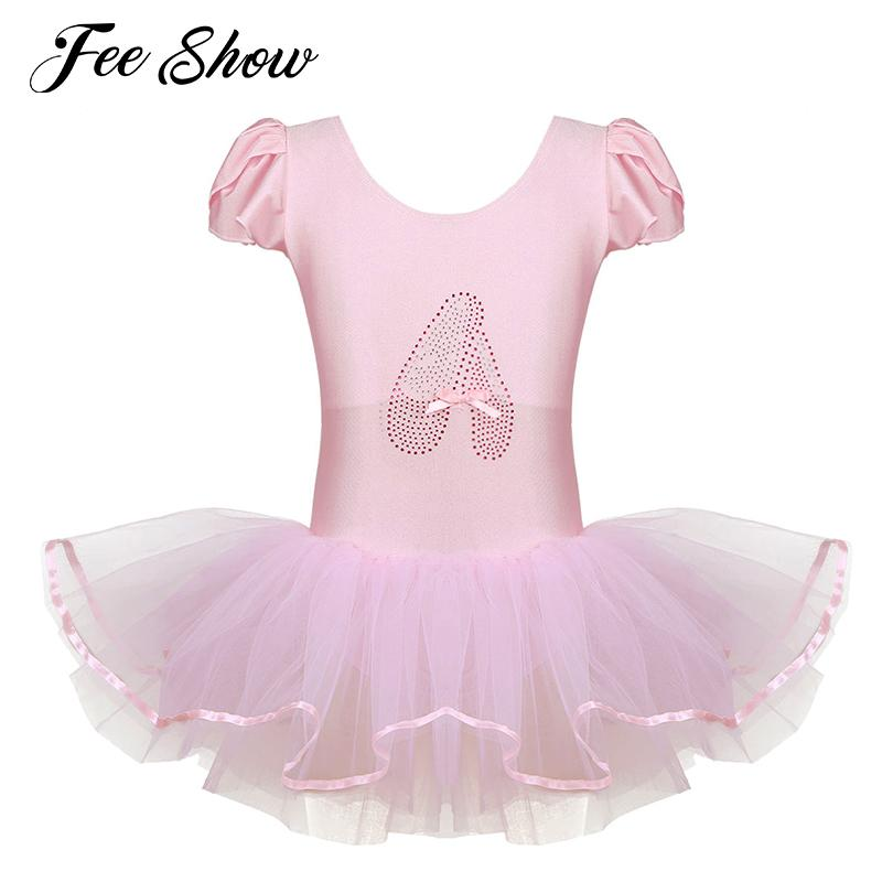 4257260dd6b7 2019 Children Girls Ballet Dress Dance Costume Ruffled Cap Sleeves ...