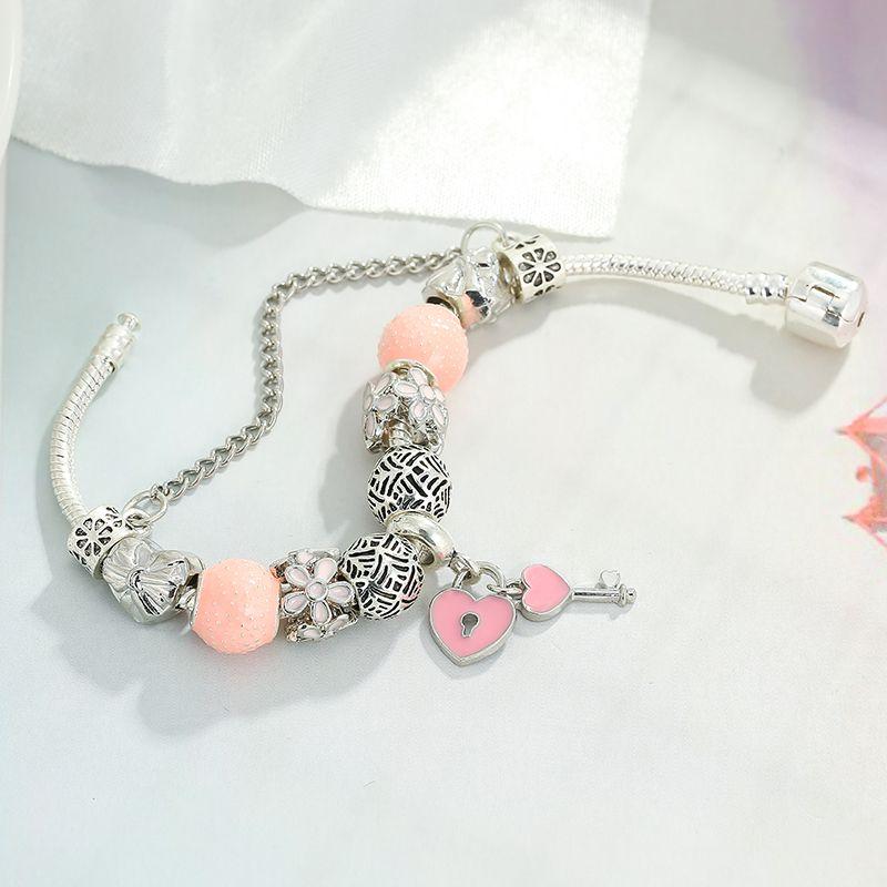 DINGLLY Silver Plated 16cm-21cm Fuchsia Pink Heart Lock Key Alloy Charm Bracelet For Girls Women Friends Pandora Jewelry