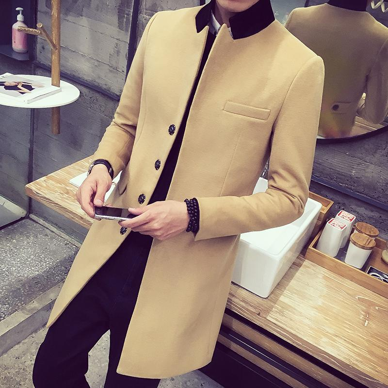 new men 's 2019 winter fashion Korean men' s solid color trend of soft self - cultivation in the long - collar wool coat M-3XL