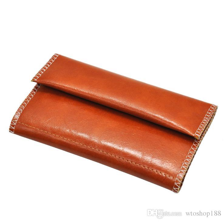 Tobacco Packaging Bag Three fold zippered leather cigarette bag
