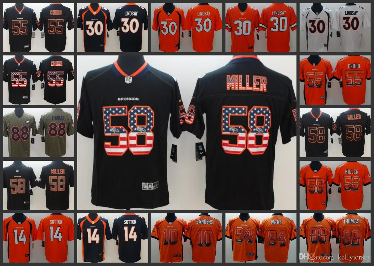 the best attitude ba6fb f8415 Denver Embroidery Broncos Men Jersey #55 Bradley Chubb 14 Courtland Sutton  30 Phillip Lindsay 58 Von Miller Women Youth Football Jerseys