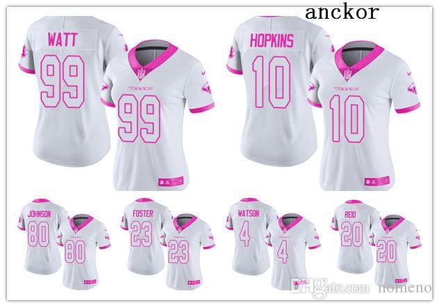 low priced e56de 4fef7 Houston WOMEN 4 Deshaun Watson 99 J.J. Watt Limited Jersey Football Texans  White Pink Rush Fashion
