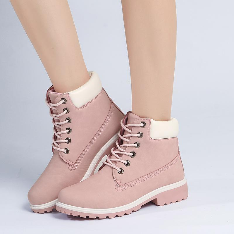 7b4856848610 Lucky2019 Pop Ladies Flat Heel Ankle Hot Quality Pu Leather Pink Martin  Short Boots Multicolors Large Size 36 41 Nude Shoes Womens Sandals From  Bellebeast, ...
