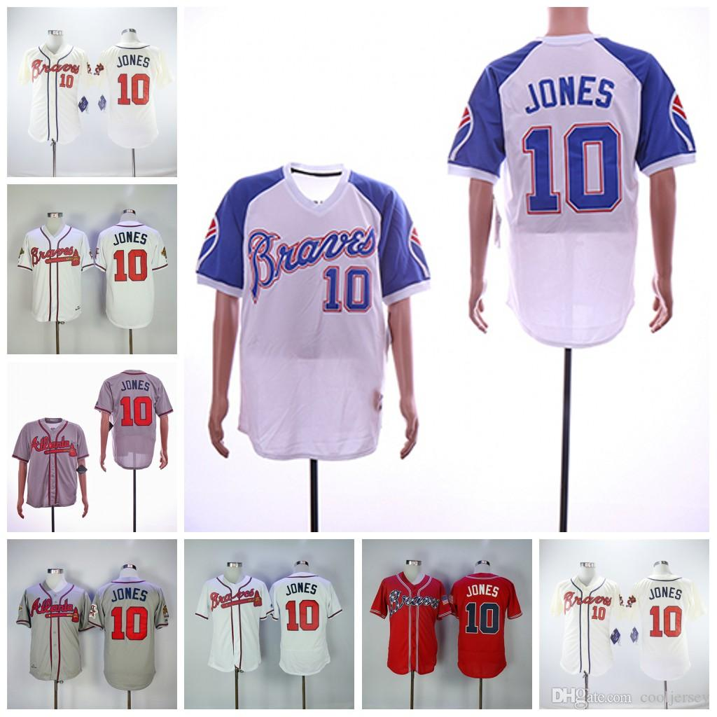 online retailer 14878 c3a80 Chipper Jones Jersey Atlanta Hall of Fame 1995 WS Braves Jersey Home Away  White Pullover Red Grey Blue Stitched