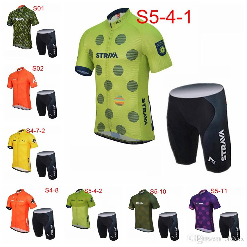 STRAVA team custom made Summer Men's Comfort Men's Short Sleeve Cycling Shorts Jersey Suit Cycling Short Sleeves jersey shorts sets S7168