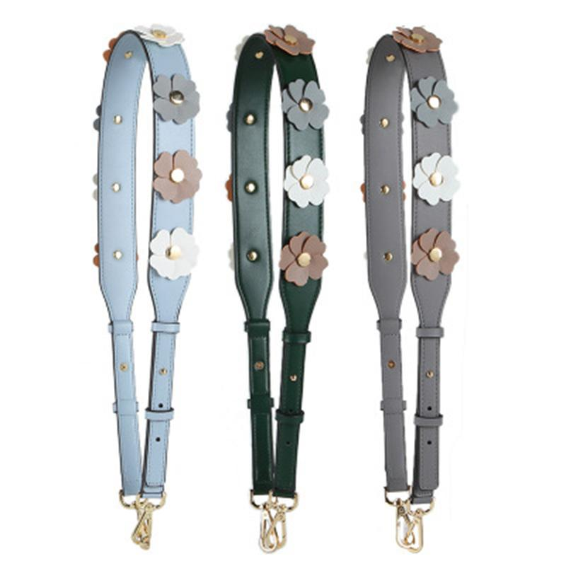 Leather Colorful Flower Shoulder Bag Strap For Women PU Fashion Adjustable Wide Rivet Crossbody Bag Belt Accessories Part