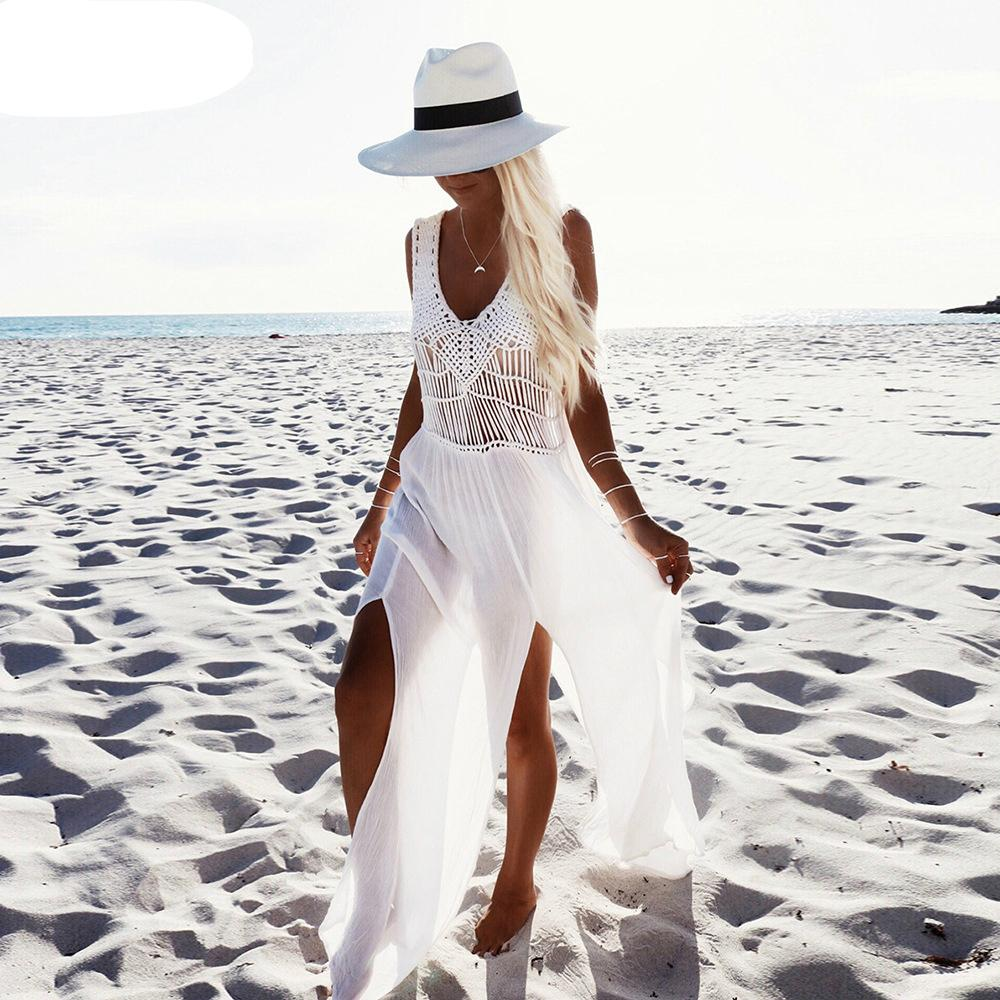 99816cb662 Compre 2018 Mujeres Vestido De Playa Blanco Encaje Sin Mangas Bata  Vacaciones Desgaste Borla Alta Calidad A  70.31 Del Akaya