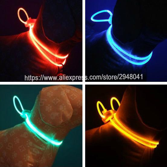 5 Colors Pet dog Collar Night Safety Light-up Flash Glowing in Dark Cat Collar LED Dog Collars Small Dogs Accessories 80cm