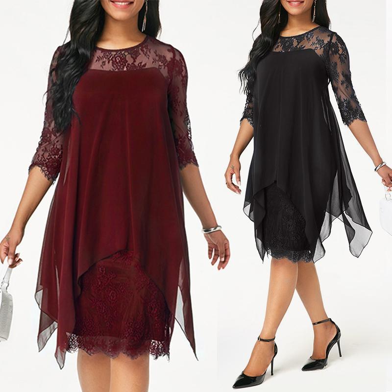 Plus Size Chiffon Dresses Women New Fashion Chiffon Overlay Three Quarter  Sleeve Stitching Irregular Hem Lace Dress