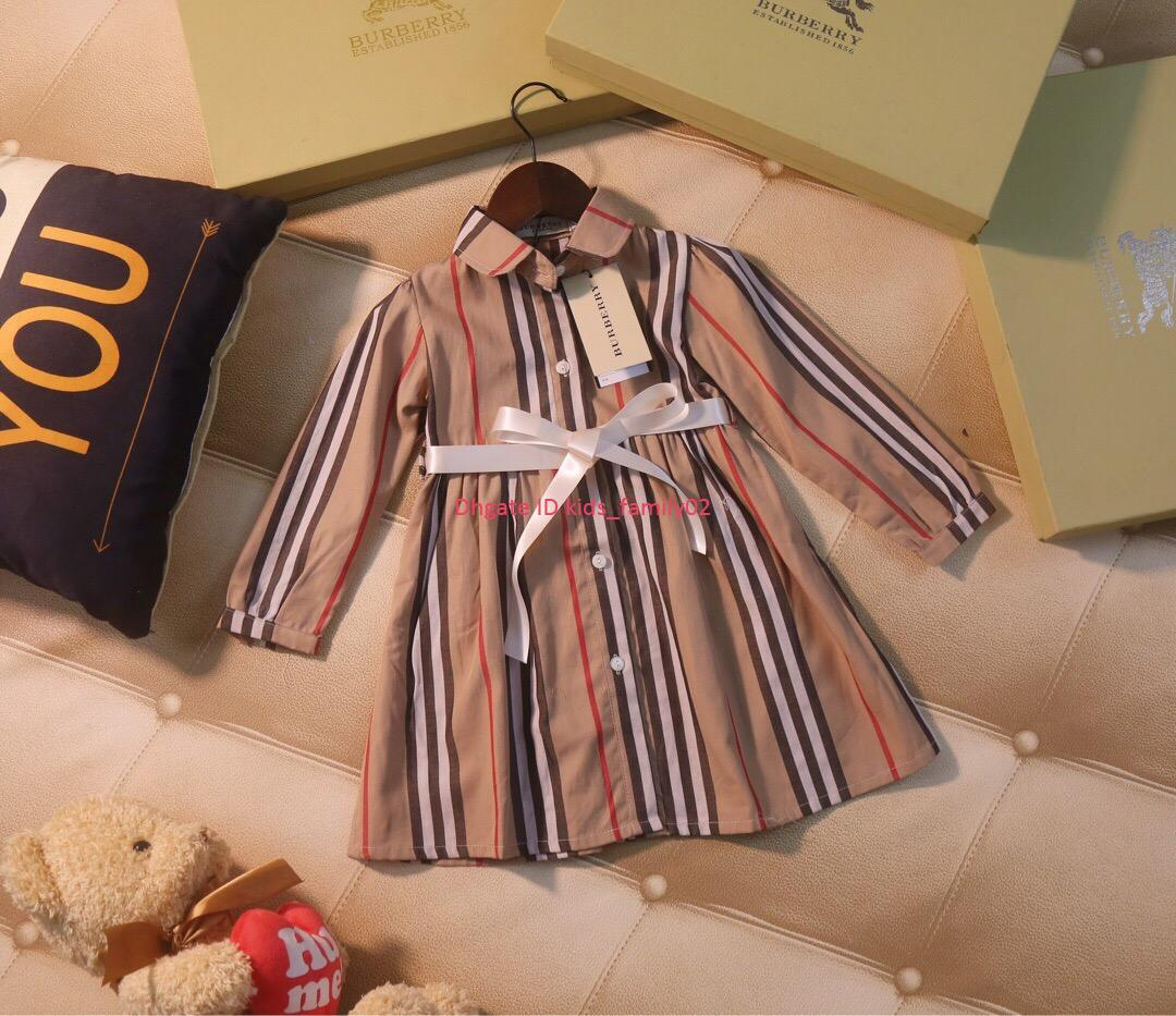 Girls dress kids designer clothing autumn new striped dress classic fashion cotton dress