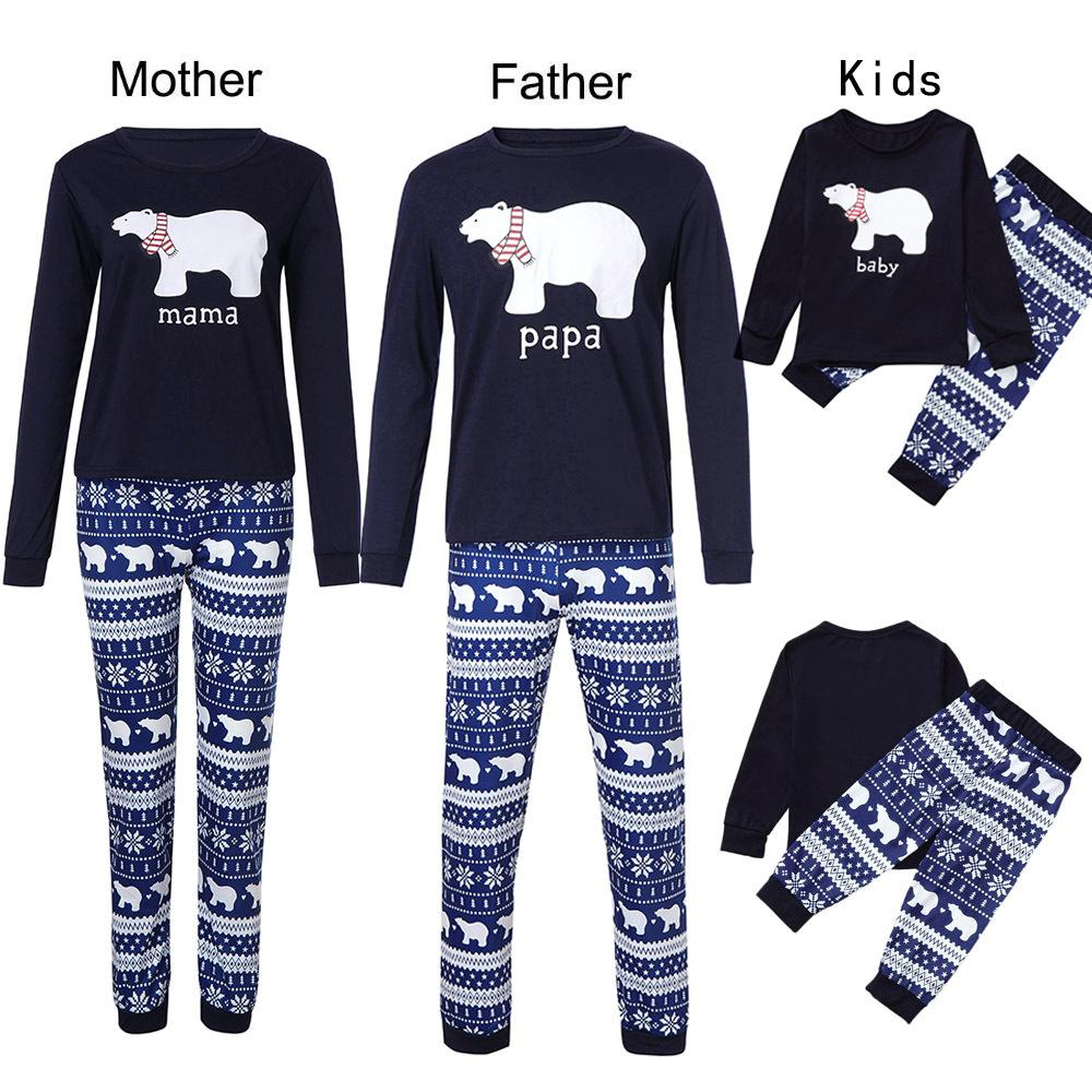 ee544297e7 Bear Christmas Family Pajamas Set Adult Kids Sleepwear Nightwear Pjs Mother  Father Kid Family Set Prop Party Clothing Matching Sibling Clothing Matching  ...