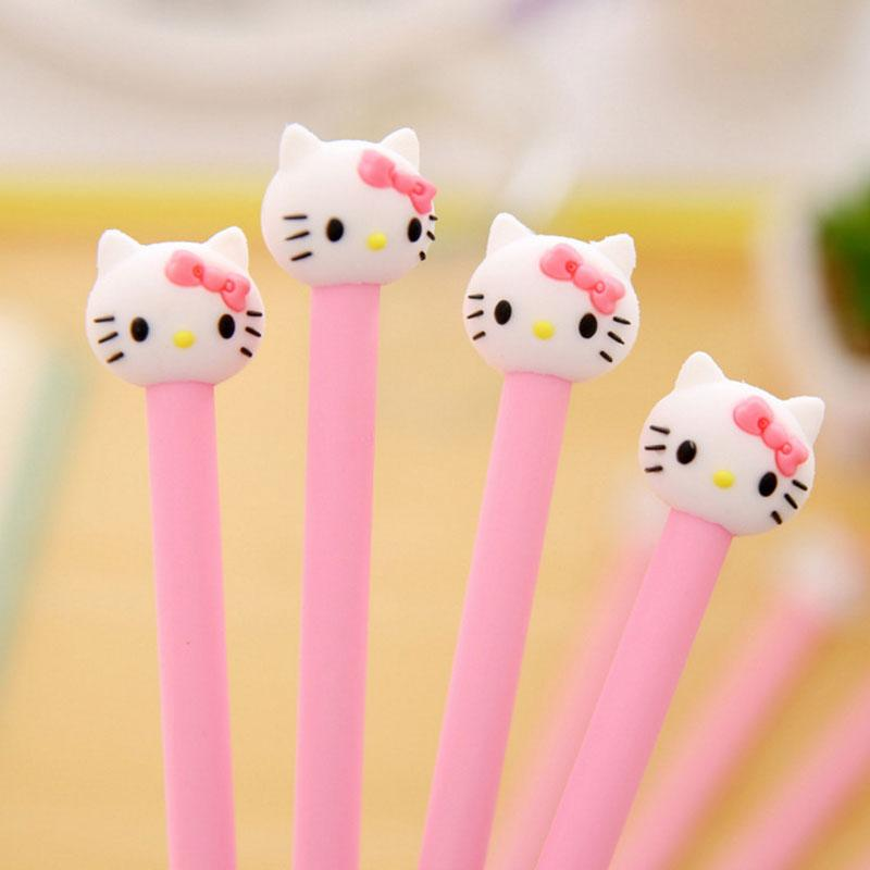 Carino penna gel hellokitty 0.5mm bambini neri Writing Pen Office Eexamination Limited Materiale per ufficio Materiale scolastico all'ingrosso Free E-PACKET