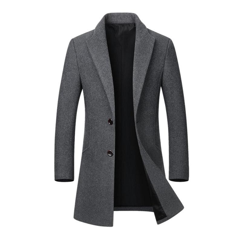 b3ce96016c4c 2019 Hot Sale Winter Wool Jacket Men S High Quality Casual Slim Collar Wool Coat  Men S Long Cotton Collar Trench Coat Dropshipping From Pleated