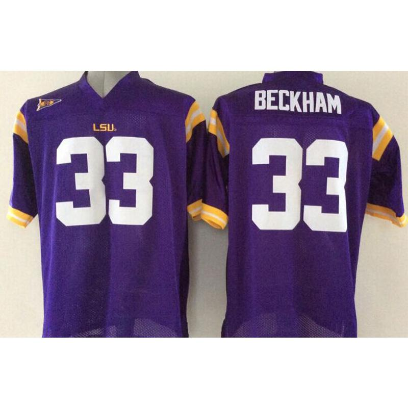 best website 3e0be b4d42 Mens LSU Tigers #33 ODELL BECKHAM JR Stitched Name&Number American College  Football Jersey Size S-3XL
