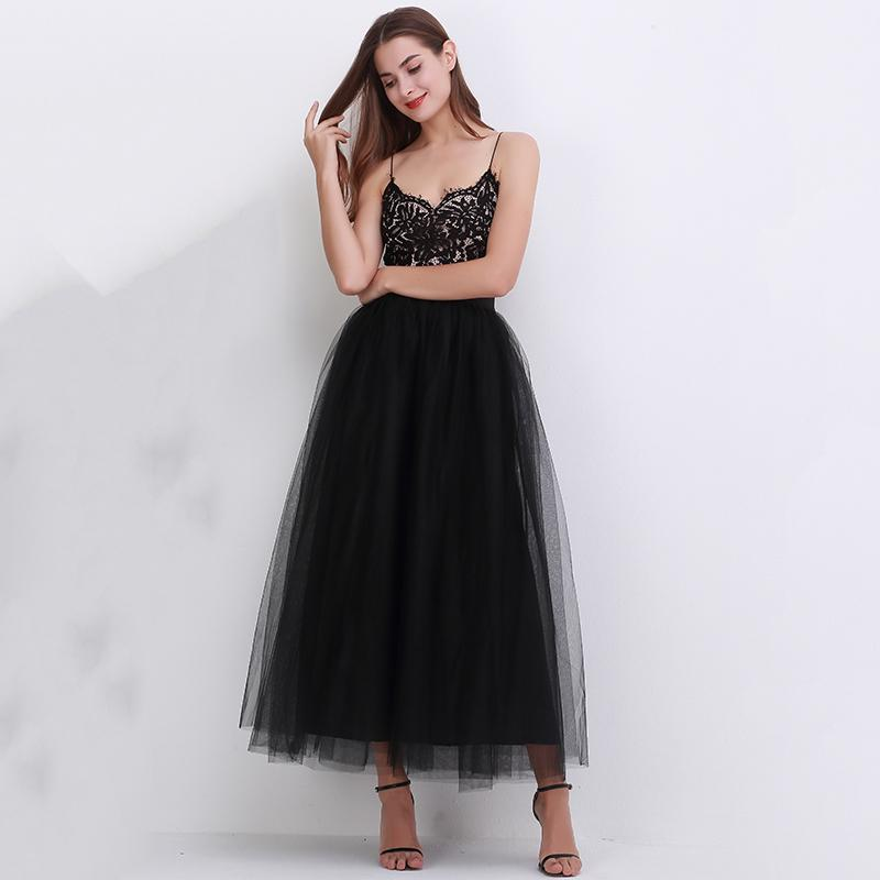 100cm New Arrive Women Vestidos Long Tulle Skirts 2018 Floor Length Tutu Skirts Adult Wedding Lolita Sashes Bridesmaid Skirts Y19043002