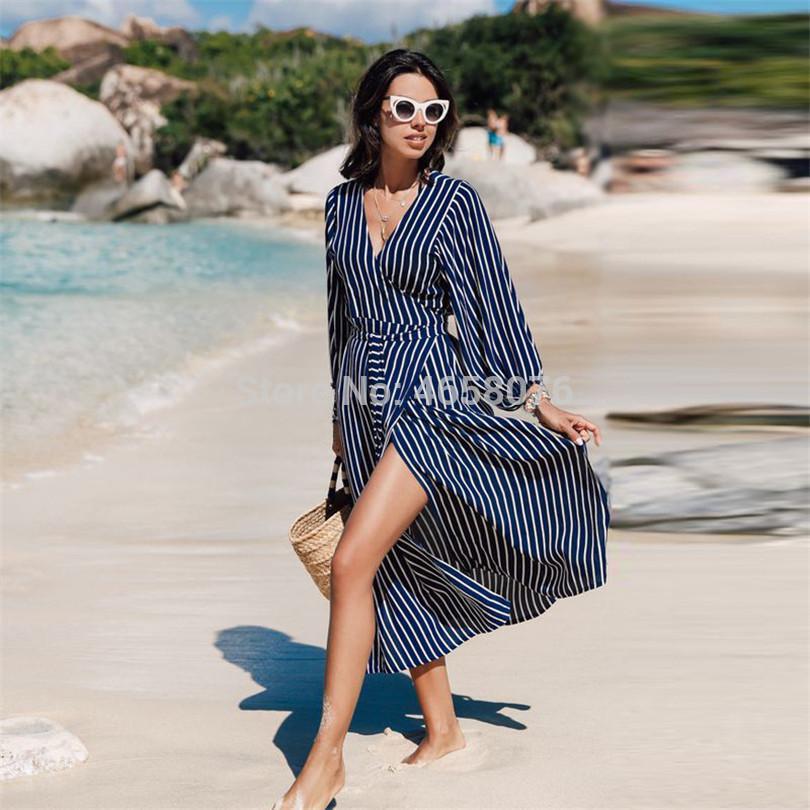 678e2f91637 2019 Blue Striped Swimsuit Cover Up Beach Tunic Sarong Robe De Plage  Beachwear Kaftans Long Summer Beach Dress Women Swim Wear From Xailiang, ...