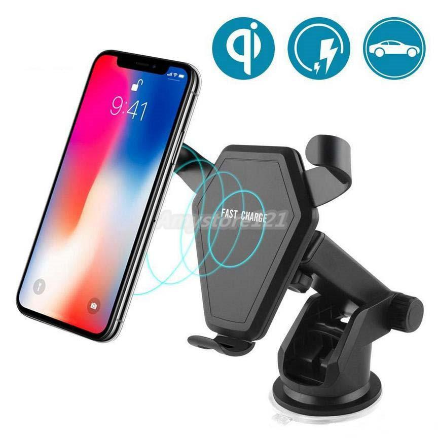 2 in 1 Veloce Qi Wireless Mount Caricabatteria da auto Phone Holder gravità di reazione per iPhone 8 Plus X Samsung