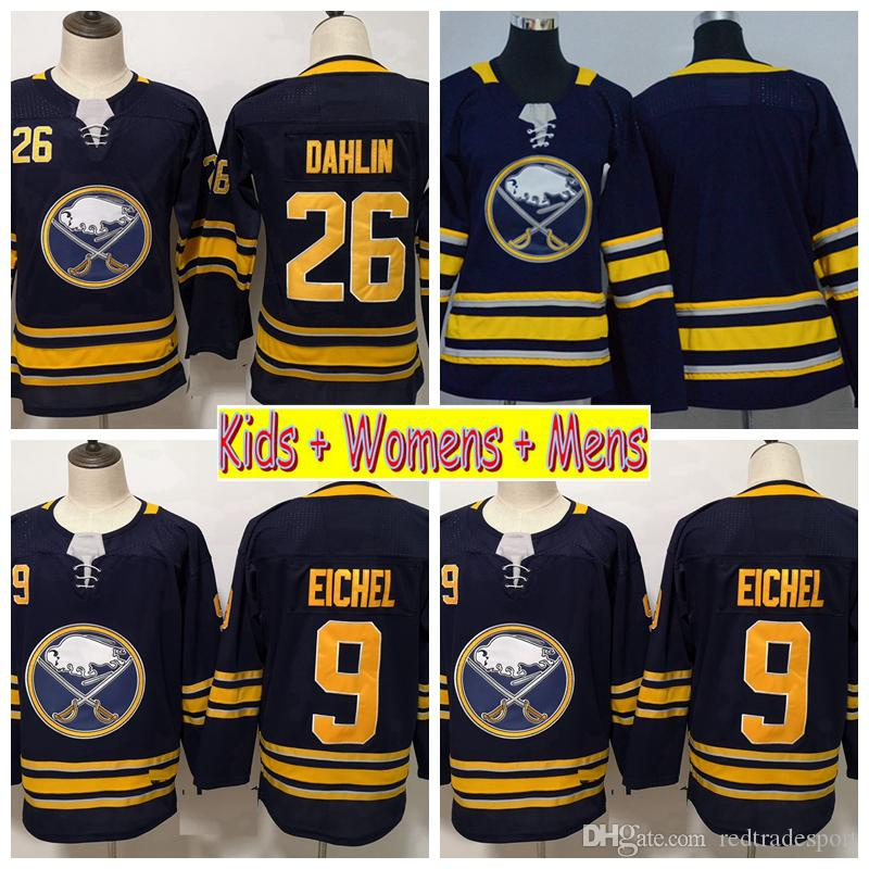 new product 90e88 97ba5 2019 Youth Buffalo Sabres Hockey Jerseys Boys 9 Jack Eichel 26 Rasmus  Dahlin Home Blue Kids Womens Mens Hockey Stitched Shirts
