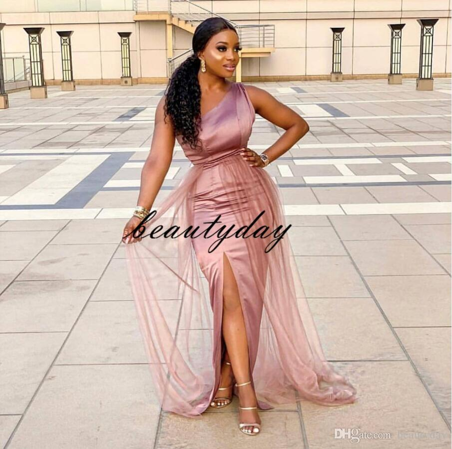 Ball Gown Prom Dresses 2019 New Evening Party Gowns With One Shoulder Blush Pink Tulle Black Girl Couple Day Cheap Dubai Plus Size