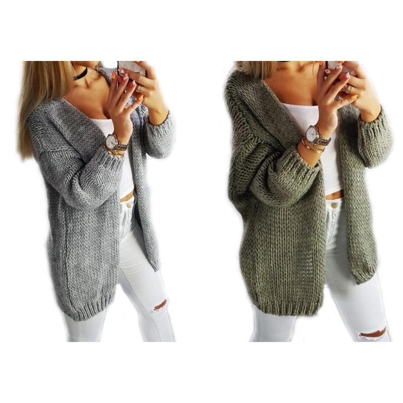 c5f724eac521 Women Autumn Winter Long Sleeve Open Front Cardigan Tops Solid Color ...