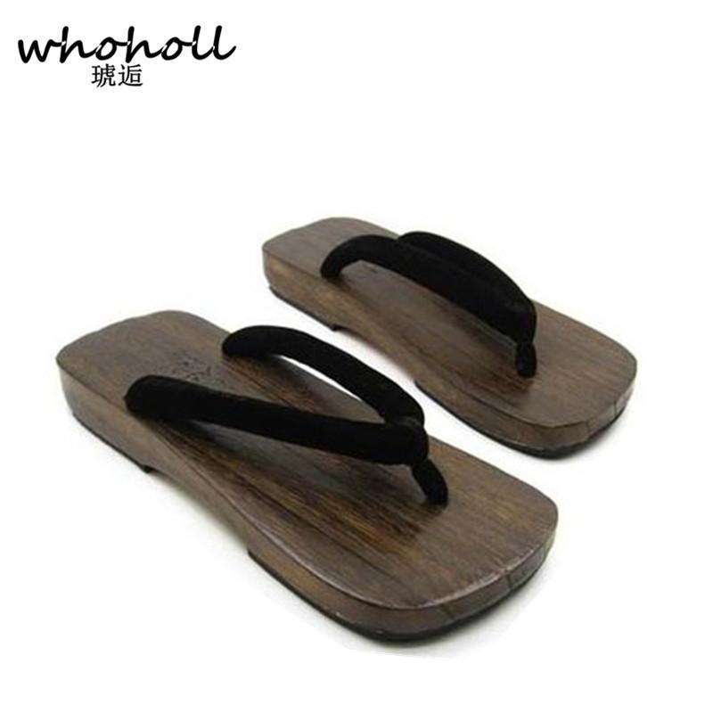 cdda881444d1d WHOHOLL Geta Man Sandals Japanese Style Wooden Sandals Male Flip-flops  Platform Clogs Shoes Paulownia Wood Slides