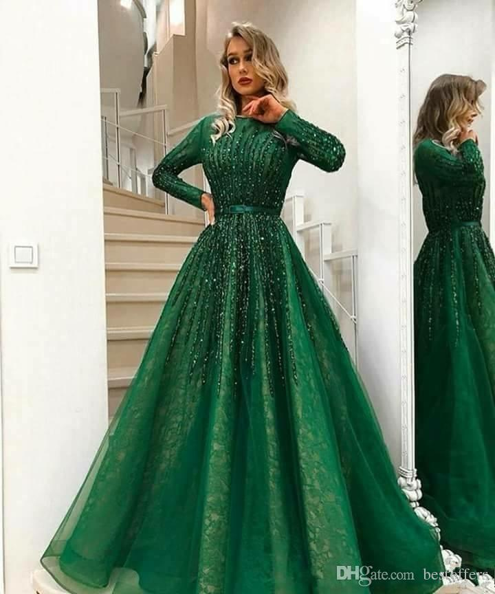 2019 New Arabic Dark Green Long Sleeves Lace A Line