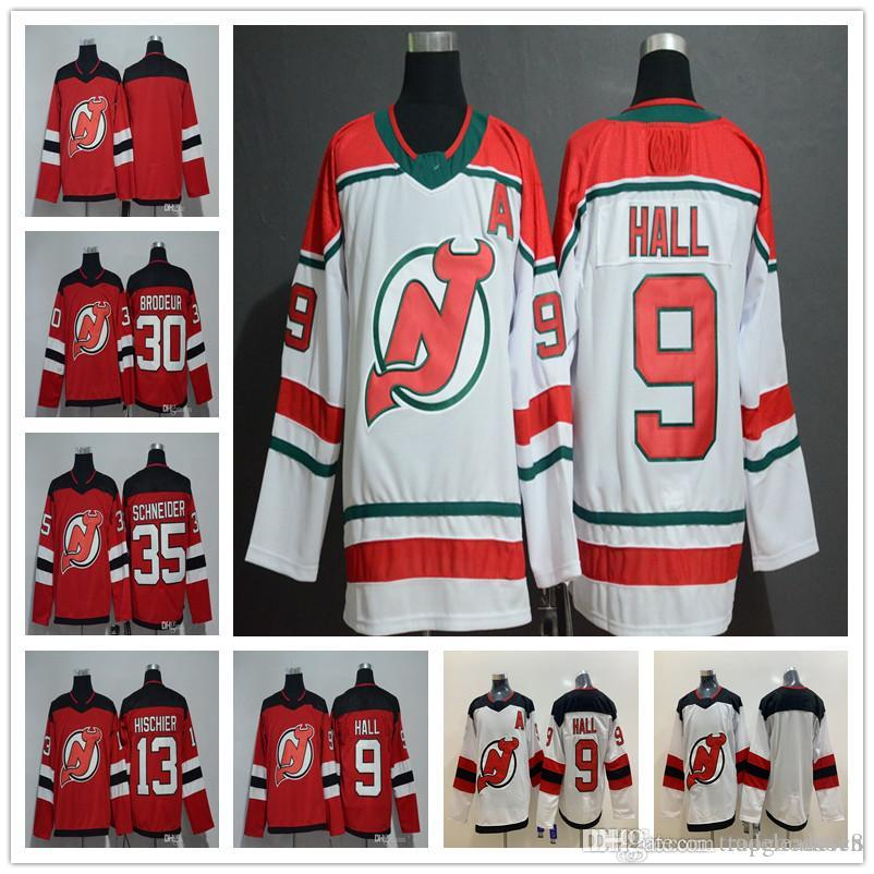 online store c6cfd 9c262 New Jersey Devils 9 Taylor Hall 30 Martin Brodeur 13 Nico Hischier 35 Cory  Schneider Home Away Alternate Stitched Hockey Jerseys