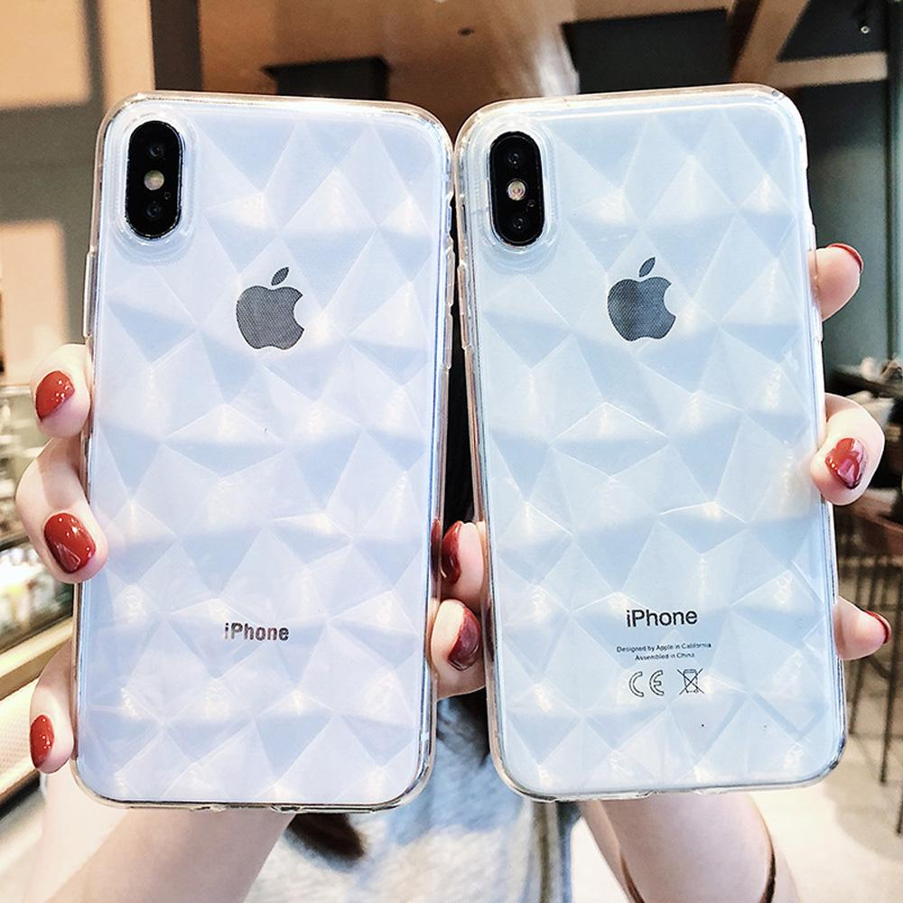 3725c4a4fc 3D Diamond Transparent Phone Case For IPhone 8 7 6 6s Plus X XS Max ...