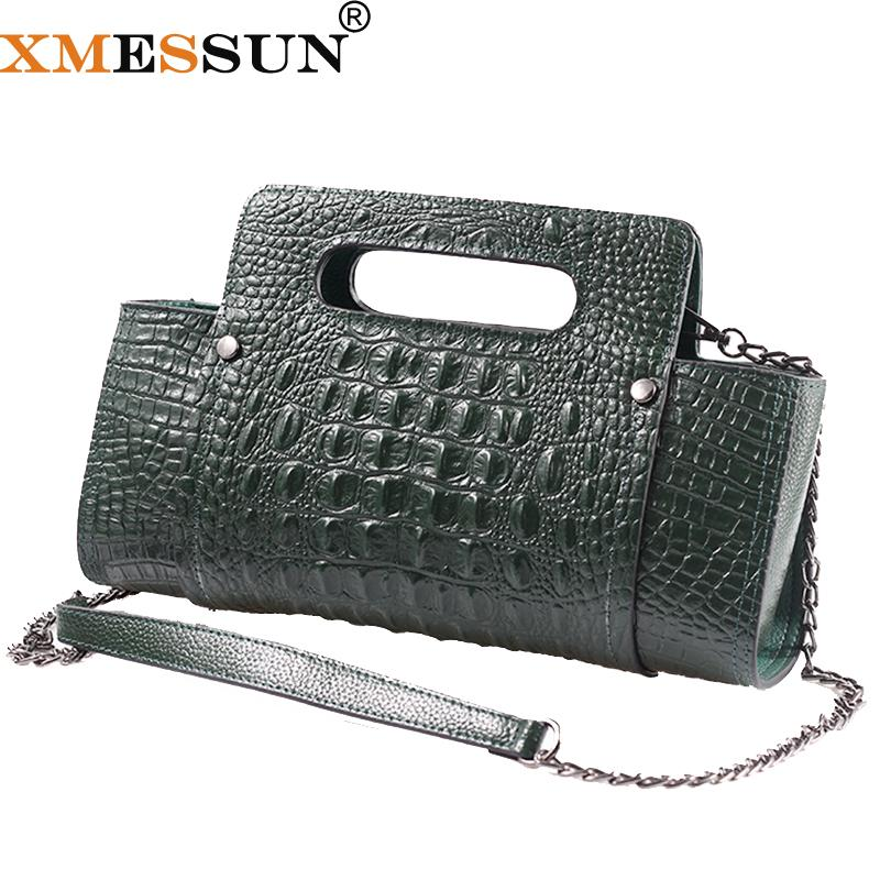 b9f7388f32 XMESSUN Genuine Leather Bag 2019 New Chain Clutch Crocodile Pattern Leather Lady  Bag Fashion Shoulder Messenger Dropship F86 Cheap Purses Handbags For Women  ...