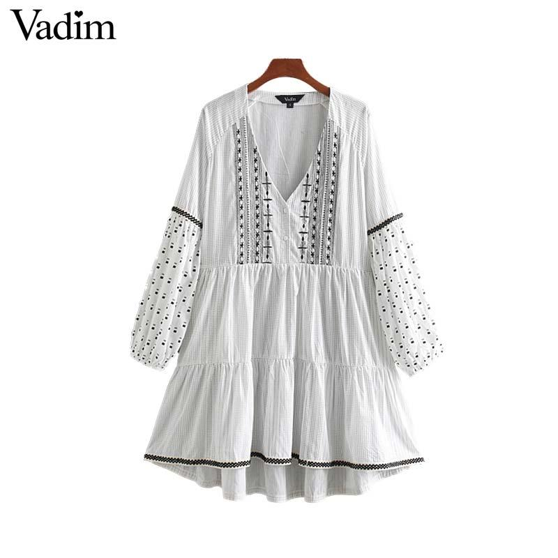 Vadim femmes broderie mini robe sexy col v poches lanterne manches longues casual femme A robe imprimée ligne robes QB757
