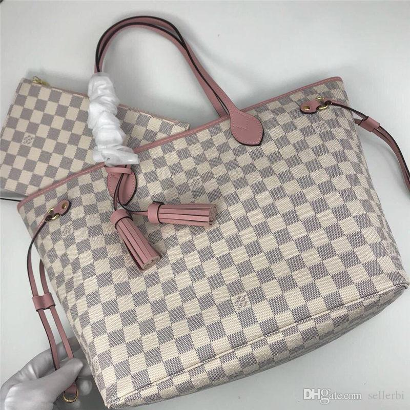 New L Letter NEVERFULL Leather Handbag White Checker Bag Top Quality Printing Purse Womens Fashion Bags Girls Shopping Bag